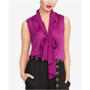 Rachel Roy Top Blouse Purple Jasper Tie Neck Sz XS